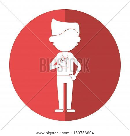 young man holding cellphone mobile shadow vector illustration eps 10