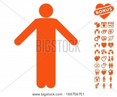 Ignorance Pose pictograph with bonus dating images. Vector illustration style is flat iconic orange symbols on white background.