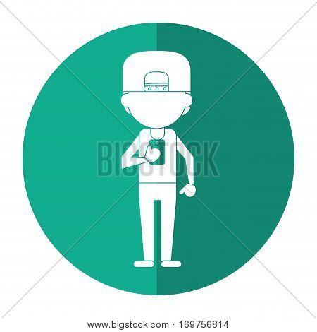 sportman character using smartphone shadow vector illustration eps 10
