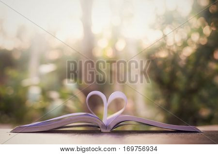 Blurry background of book page in heart shape with natural light