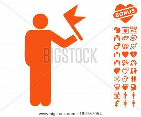 Man With Flag pictograph with bonus lovely pictures. Vector illustration style is flat iconic orange symbols on white background.