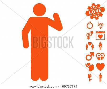 Opinion Pose pictograph with bonus lovely clip art. Vector illustration style is flat iconic orange symbols on white background.
