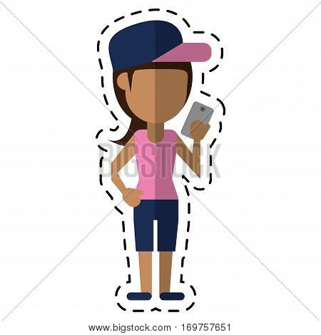 sportwoman sharing smarthpone technology dot line vector illustration eps 10