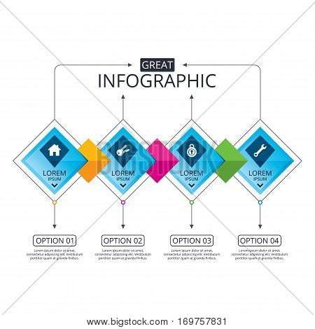 Infographic flowchart template. Business diagram with options. Home key icon. Wrench service tool symbol. Locker sign. Main page web navigation. Timeline steps. Vector