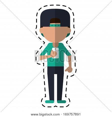 sportman character using smartphone dot line vector illustration eps 10