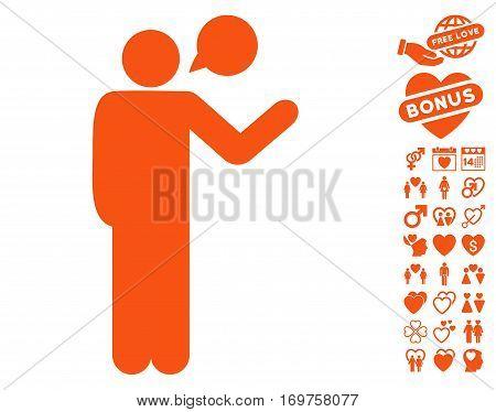 Talking Man icon with bonus love images. Vector illustration style is flat iconic orange symbols on white background.