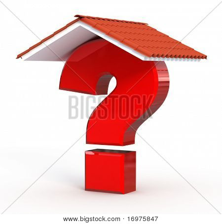 Red Question mark under home roof