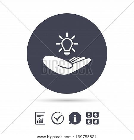 Idea patent insurance sign. Hand holds lamp bulb symbol. Intellectual Property. Report document, information and check tick icons. Currency exchange. Vector