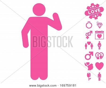 Opinion Pose pictograph with bonus love pictograms. Vector illustration style is flat iconic pink symbols on white background.