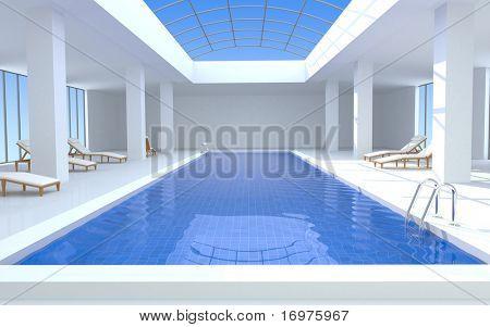 Luxury swimming pool - 3d render