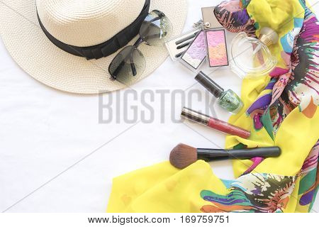 beauty skin face set cosmetics makeup and prepare relax travel of woman