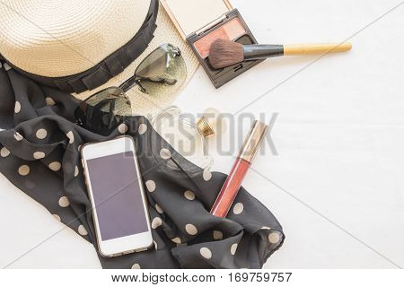 beauty skin face set cosmetics makeup and prepare relax of woman