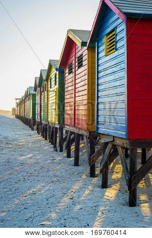Famous colorful huts at Muizenberg Beach outside Cape Town South Africa