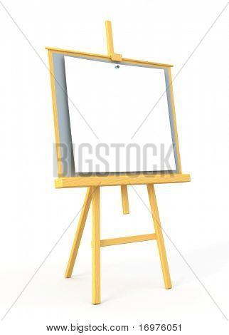 Wood easel with white canvas - 3d render