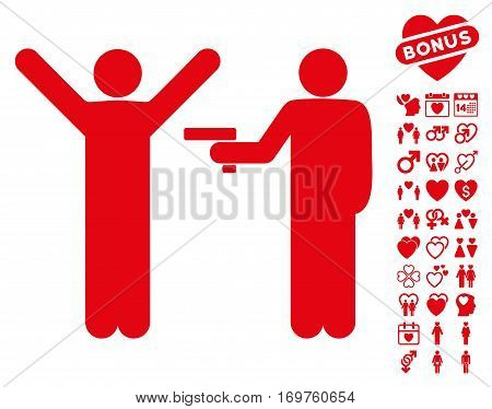 Crime Robbery pictograph with bonus valentine images. Vector illustration style is flat iconic red symbols on white background.