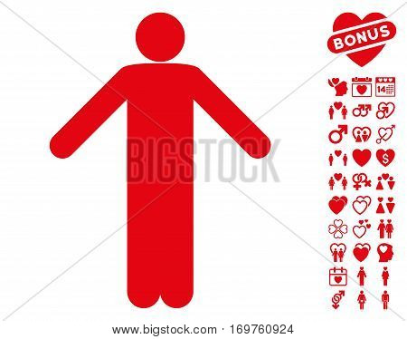 Ignorance Pose icon with bonus love pictograph collection. Vector illustration style is flat iconic red symbols on white background.