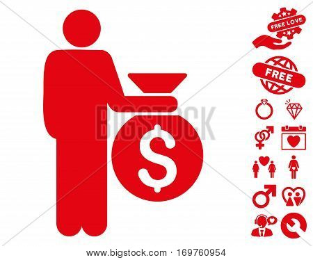 Investor pictograph with bonus lovely graphic icons. Vector illustration style is flat iconic red symbols on white background.