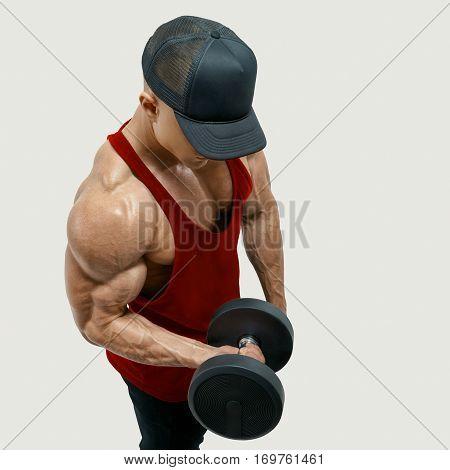 Bodybuilder Wearing A Red Tank Top
