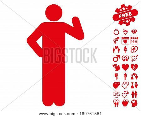 Proposal Pose icon with bonus lovely graphic icons. Vector illustration style is flat iconic red symbols on white background.