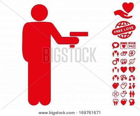 Robber With Gun icon with bonus dating graphic icons. Vector illustration style is flat iconic red symbols on white background.