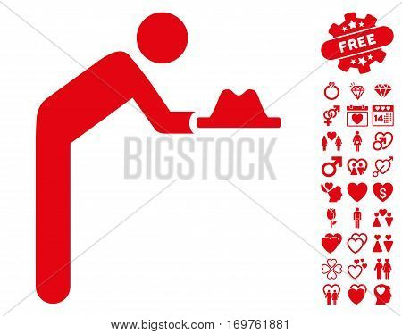 Servant With Hat icon with bonus valentine pictures. Vector illustration style is flat iconic red symbols on white background.