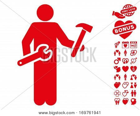 Serviceman pictograph with bonus dating icon set. Vector illustration style is flat iconic red symbols on white background.