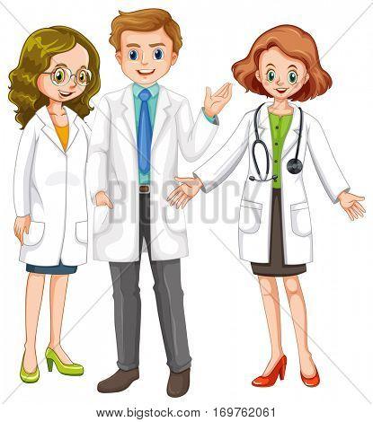 Three doctors standing together illustration