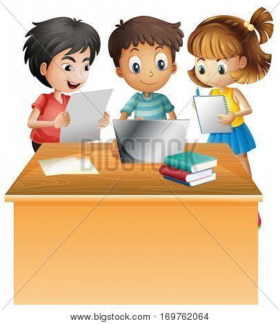 Kids working on computer on the desk illustration