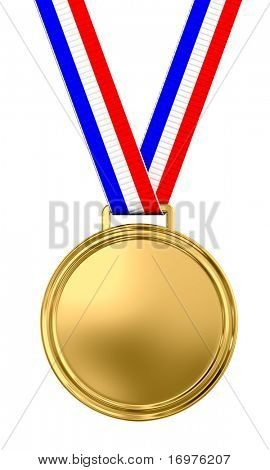Blank gold medal with tricolor ribbon - 3d render