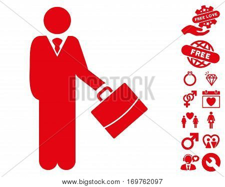 Standing Businessman pictograph with bonus dating pictures. Vector illustration style is flat iconic red symbols on white background.