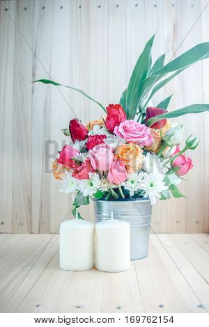 Vase Of Bouquet Roses In Aluminium Bucket