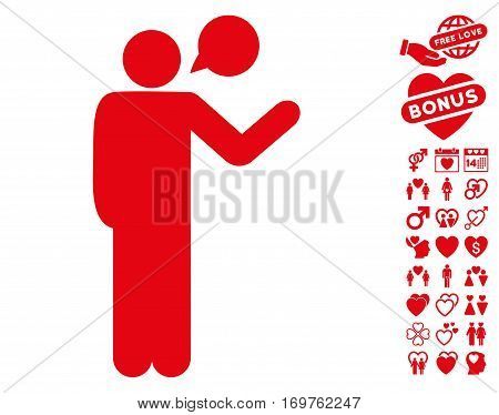 Talking Man pictograph with bonus dating pictograph collection. Vector illustration style is flat iconic red symbols on white background.