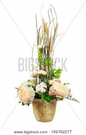 Bouquet from peony flowers, cotton balls and ears of wheat in stylish vase isolated on white background.