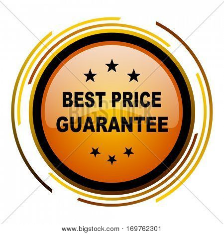 Best price guarantee vector icon. Modern design round orange button isolated on white background for web and applications in eps10.