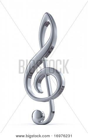 Silver treble clef - 3d render