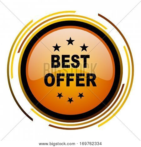 Best offer vector icon. Modern design round orange button isolated on white background for web and applications in eps10.