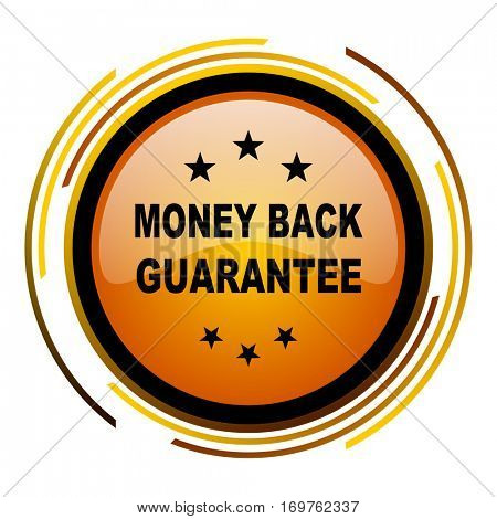 Money back guarantee vector icon. Modern design round orange button isolated on white background for web and applications in eps10.