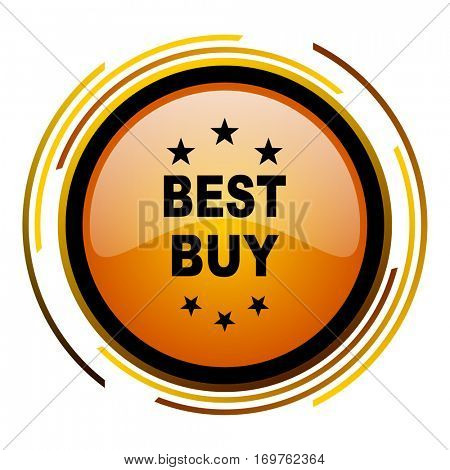 Best buy vector icon. Modern design round orange button isolated on white background for web and applications in eps10.