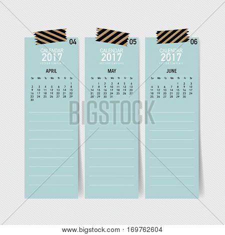 2017 Calendar planner, vector design template