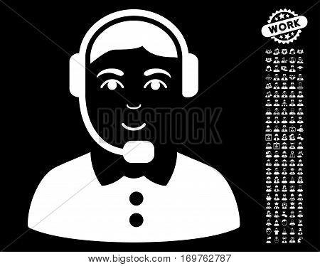 Call Center Operator pictograph with bonus human images. Vector illustration style is flat iconic white symbols on black background.