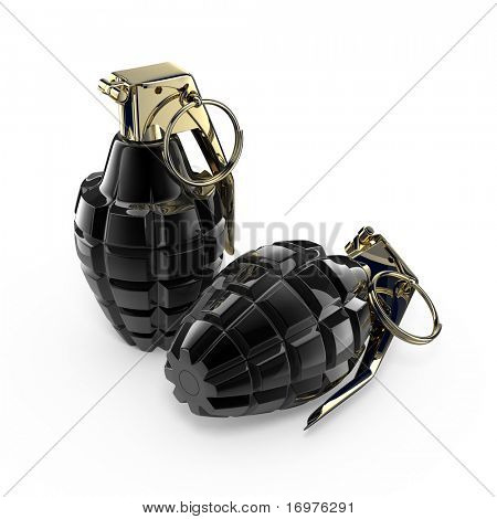 Two hand grenades - 3d rendered illustration