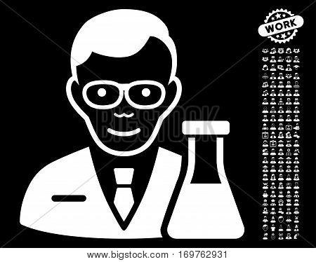 Chemist icon with bonus people icon set. Vector illustration style is flat iconic white symbols on black background.