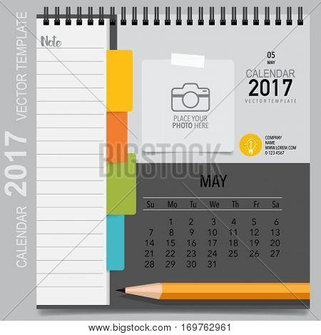 2017 Calendar planner vector design, monthly calendar template for May