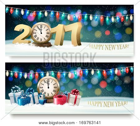 Happy New Year banners with presents and fireworks. Vector.