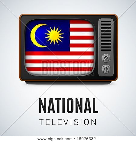 Vintage TV and Flag of Malaysia as Symbol National Television. Tele Receiver with Malaysian flag