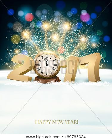 Holiday New Year's background with a Christmas tree, clock and fireworks. Vector.