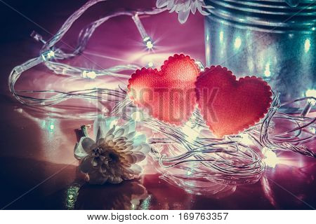 Red Heart And Lighting Bulb On Pink Background