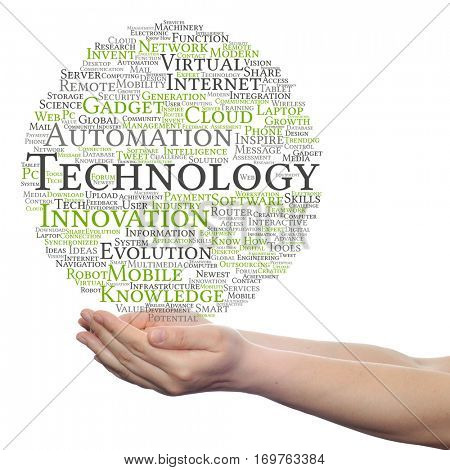 Concept or conceptual digital smart technology, media word cloud in hand isolated on background metaphor to information, innovation, internet, future, development, research, evolution or intelligence