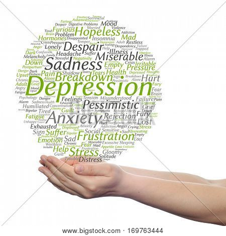 Concept conceptual depression mental emotional disorder abstract word cloud held in hands isolated on background metaphor to anxiety, sadness negative sad, problem, despair unhappy frustration symptom