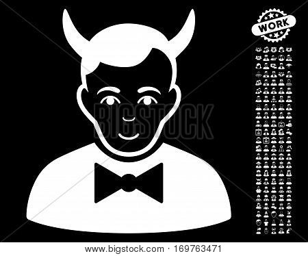 Devil icon with bonus human clip art. Vector illustration style is flat iconic white symbols on black background.